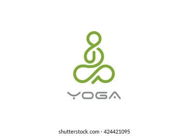 Yoga Logo abstract Man sitting Lotus pose design vector template Linear style.  SPA Beauty Healthcare Zen Harmony Logotype concept icon.