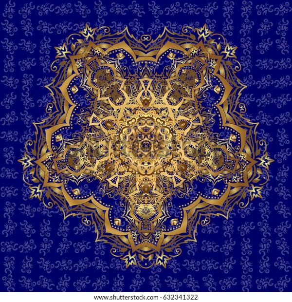 Yoga logo, background for meditation poster. Weave design mandala. Indian mandala. Decorative golden round ornament. Oriental flourish vector. Anti-stress mandala. Colorful ornament.