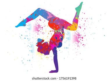Yoga logo design. Colorful sport background. Ballerina in dance. Girl gymnast in gymnastic. Vector illustration.