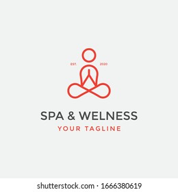 yoga logo design inspiration human meditation for spa or welness symbol