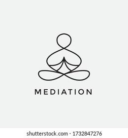 yoga logo design inspiration human meditation for spa or welness symbol