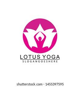 Yoga logo design stock. Human meditation in lotus flower vector illustration in pink color