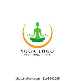 yoga logo design stock. meditation vector illustration