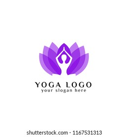yoga logo design stock in overlay color style. human meditation in lotus flower vector illustration