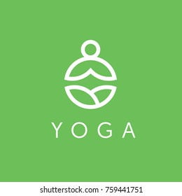 Yoga logo with man in lotus pose. Abstract design vector template Linear style. Health Spa Meditation Harmony Logotype concept.