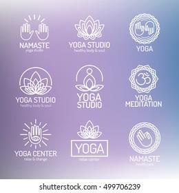 Yoga logo template set for your yoga center, studio, meditation class. Health care, sport, fitness logo design elements. Vector Illustration
