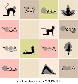 Yoga logos and poses set. Vector illustration in eps8 format.