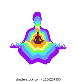 Yoga lotos position with colorfull chakras on a white background.