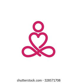 Yoga lotus pose, yoga love stylized vector icon.