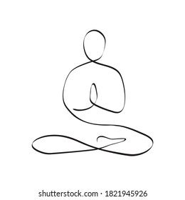 Yoga lotus pose one line drawing. Abstract minimalist style. Continuous line art. Vector illustration