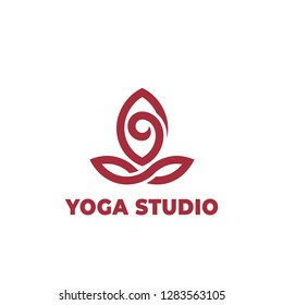 Yoga lotus pose, stylized vector icon.