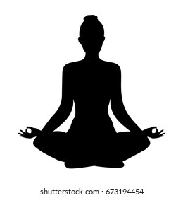 yoga. lotus position silhouette. vector shape