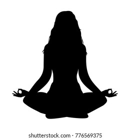 yoga. lotus position silhouette. vector shape. Long hairs