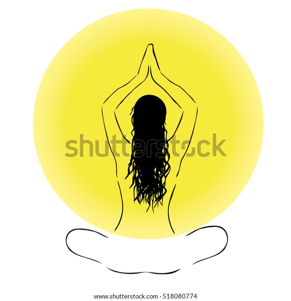 Yoga Lotus Position Silhouette Vector Woman Stock Vector Royalty Free 518080774