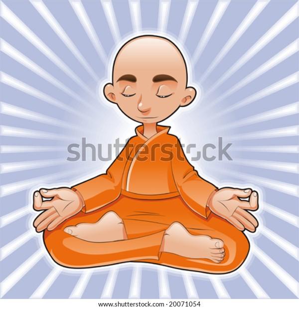 Yoga Lotusfunny Cartoon Vector Character Stock Vector Royalty Free 20071054
