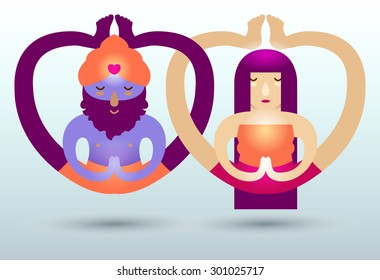 Yoga lovers. A couple of indian man (with  beard and the turban) and caucasian women sitting and meditating in a yoga pose. Their legs twisted in a unreal position. Good yoga lifestyle products design