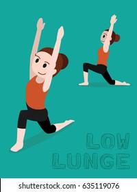 Yoga Low Lunge Cartoon Vector Illustration