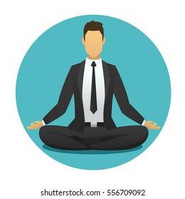 Yoga man icon. businessman meditates in lotus position. meditation logo flat design. Spiritual energy. lotus position meditator business man round background. Harmony, relax. vector yoga illustration.