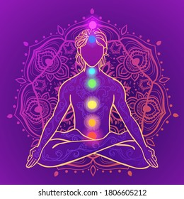 Yoga man. Ornament beautiful esoteric Concept of meditation. Geometric element hand drawn. Vector illustration for design for logo, banner flyers. India ethnic style Yoga pose with mandala and chakras