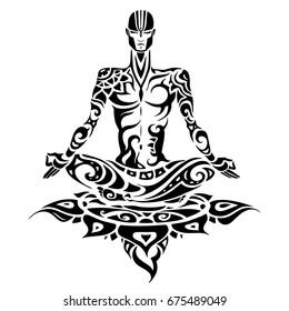Yoga man Silhouette. Hand drawn vector illustration. Meditation in lotus pose Padmasana