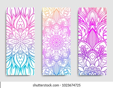 Yoga mat design set. Colorful template for spiritual retreat or yoga studio. Indian floral paisley pattern. Vector illustration. Ethnic Mandala towel. Vector Henna tattoo style.
