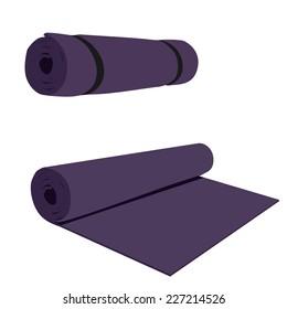 Yoga mat, purple yoga mat, yoga mat vector, yoga mat isolated