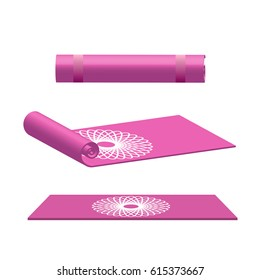 Yoga mat rolled and open in pink color vector illustration