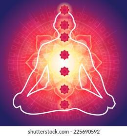 Yoga Meditation with 7 Chakras - Illustration