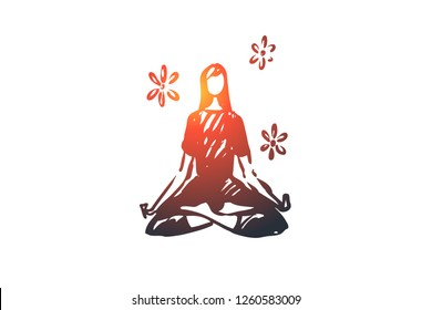 Yoga, meditation, health, relax, lotus concept. Hand drawn woman sitting in yoga pose concept sketch. Isolated vector illustration.