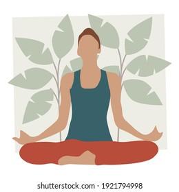 Yoga meditation illustration. Exercise, spiritual practice, houseplants in background. Vector illustration. EPS 10.