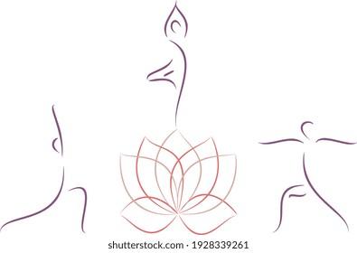 Yoga and meditation logo. Elegant vector illustration of a lotus flower and yoga poses, emblem design, minimalistic yoga logotype in trendy line art, overlapping technique.