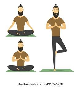 Yoga meditation man with beard isolated on white background. cartoon meditation yoga character, vector yoga flat design. meditation pose illustration. hipster male yoga meditation.