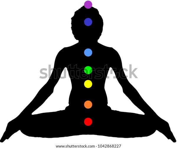 Yoga Meditation Pose Black On White Stock Vector Royalty Free 1042868227