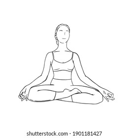 Yoga meditation in siddhasana. Om meditation for body relax and spirit harmony. Engraved vector illustration isolated on white background