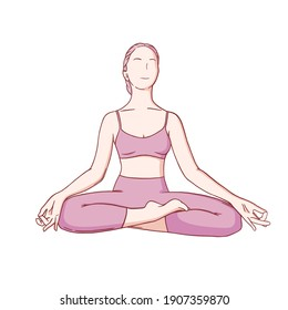 Yoga meditation in siddhasana. Om meditation for body relax and spirit harmony. Colored vector illustration isolated on white background