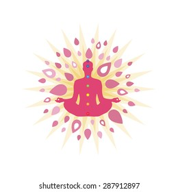 Yoga and meditation theme with white background. Person is pink, with seven chakra points.
