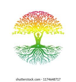 yoga meditation with tree of life vector illustrations