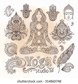 Yoga, meditation vector illustration set. Vintage decorative vector elements isolated. Hand drawn. Indian, Hindu paisley motifs. Tattoo, spirituality, prints for t-shirts and other textiles.