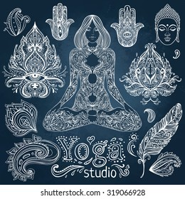 Yoga, meditation vector illustration set. Vintage chalk vector elements over blackboard. Hand drawn. Indian, Hindu paisley motifs. Tattoo, spirituality, prints for t-shirts and other textiles.