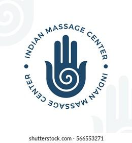 Yoga, meditation vector logo illustration. Decorative hamsa hand vector element. Indian, Hindu design. Spirituality spiral insignia