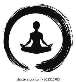 Yoga Meditation with Zen Circle Logo Template Vector