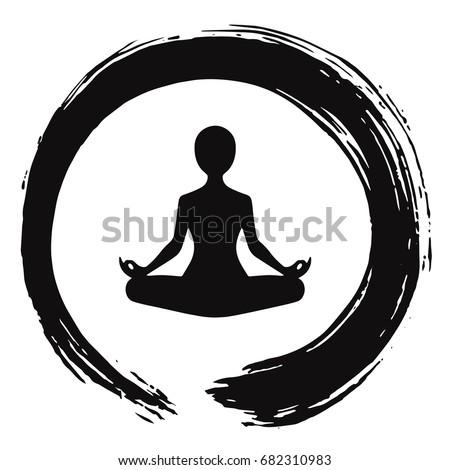 yoga meditation zen circle logo template のベクター画像素材