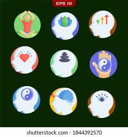 Yoga Achtsamkeit Set Icons Stock Vektorgrafik