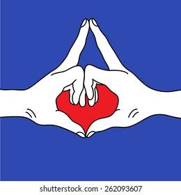 Yoga mudra. Kalesvara mudra yoga gesture hands.
