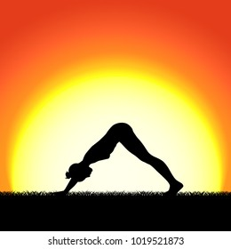 Yoga mukhaasana pose black silhouette on sunset background. Woman character meditating in nature during sunrise, dawn. Vector illustration.