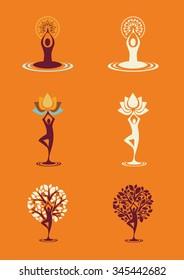 Yoga Nature silhouettes - Icon Set colored and monocrome