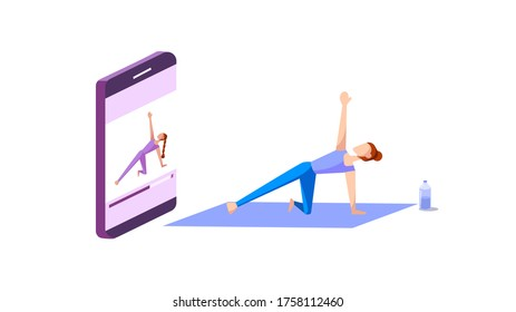 Yoga online course concept : A female yoga teacher training her student via mobile phone. Vector illustration, Flat design