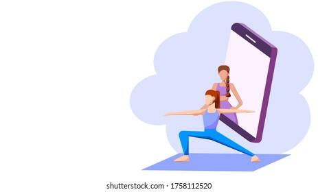 Yoga online course concept : A female yoga teacher training her student via mobile phone. Vector illustration, Flat design