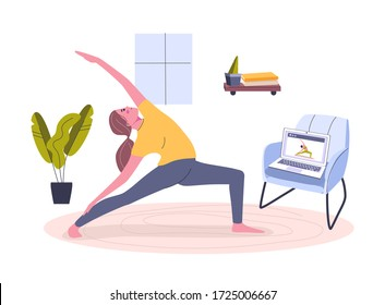 Yoga online at Home. Stay home concept. Girl watching online classes on laptop. Live stream, online education. Do exercise activity in cozy modern interior. Scribble vector illustration