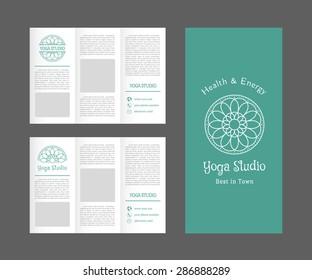 Yoga ornamental brochure. Vector editable template for relax or spa center, yoga studio, healthcare and traditional medicine
